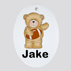 Jake's Football Bear Oval Ornament