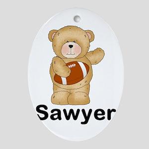 Sawyer's Football Bear Oval Ornament