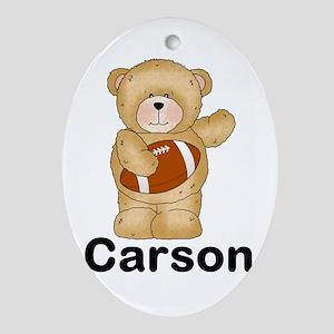 Carson's Football Bear Oval Ornament
