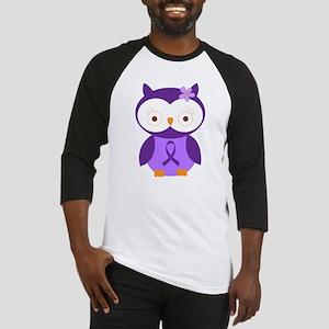 Purple Ribbon Awareness Owl Baseball Jersey