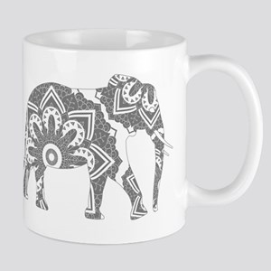 Mandala Elephant Grey Mugs