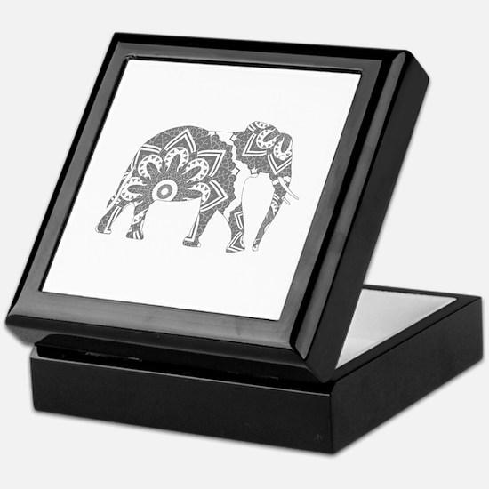 Mandala Elephant Grey Keepsake Box