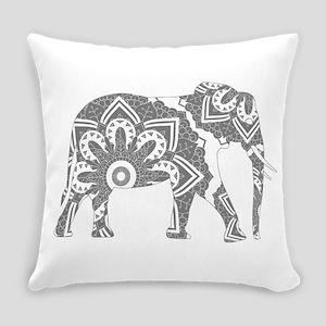 Mandala Elephant Grey Everyday Pillow