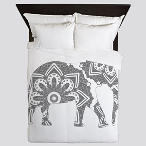 Mandala Elephant Grey Queen Duvet