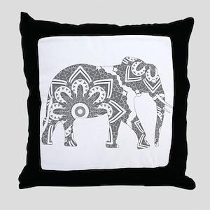 Mandala Elephant Grey Throw Pillow