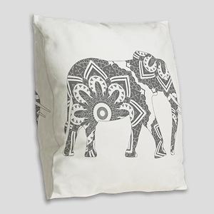 Mandala Elephant Grey Burlap Throw Pillow