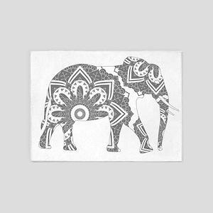 Mandala Elephant Grey 5'x7'Area Rug