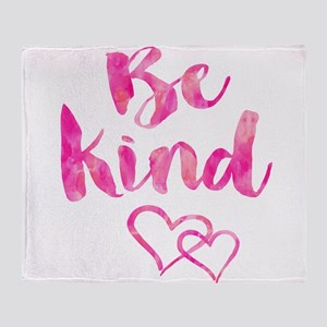 Be Kind Watercolor Inspirational Quo Throw Blanket