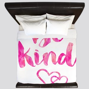 Be Kind Watercolor Inspirational Quote King Duvet