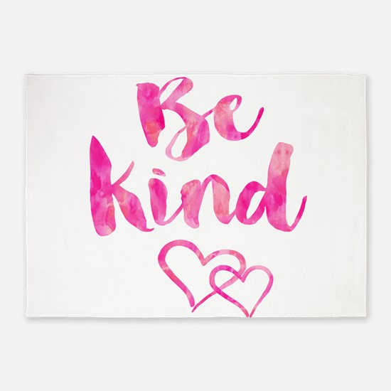 Be Kind Watercolor Inspirational Qu 5'x7'Area Rug