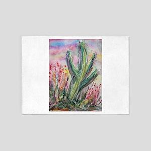 Saguaro cactus! Southwest art! 5'x7'Area Rug