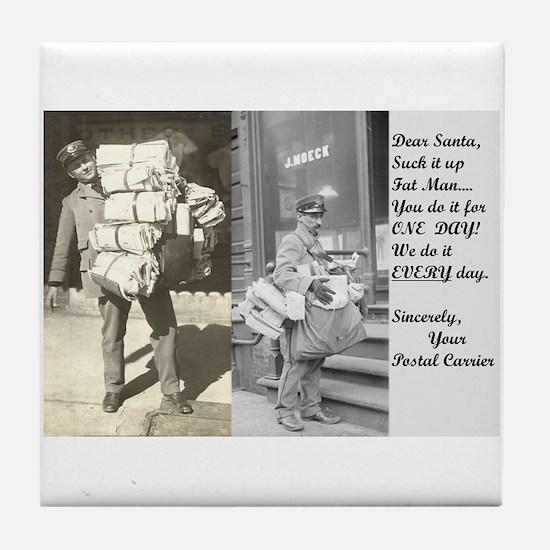 Santa Delivering Postal Worker Tile Coaster