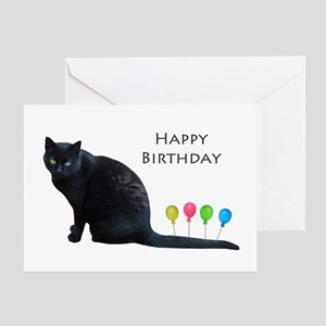 Black Cat Balloons Greeting Cards