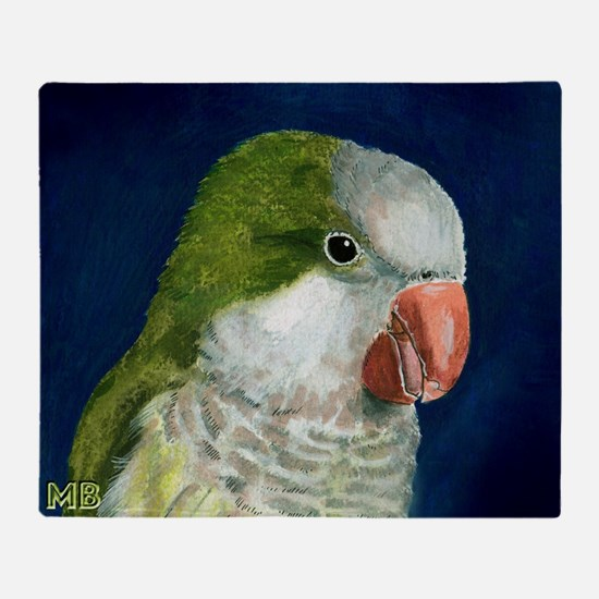 Cute Monk parakeet Throw Blanket