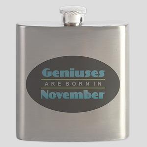 Geniuses are Born in November Flask