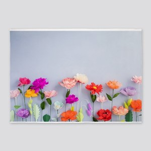 Handmade paper flowers 5'x7'Area Rug