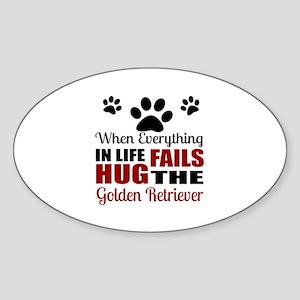 Hug The Golden Retriever Sticker (Oval)