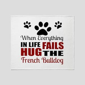 Hug The French bulldog Throw Blanket
