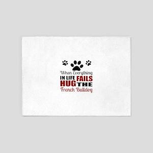 Hug The French bulldog 5'x7'Area Rug