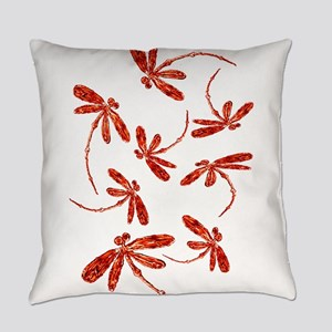 Scarlet Red Dragonflies Everyday Pillow