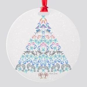 Marine Christmas Tree Round Ornament
