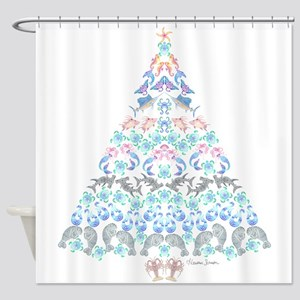 Marine Christmas Tree Shower Curtain