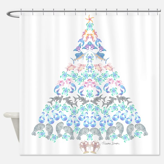 Marine Christmas Tree Shower Curtain