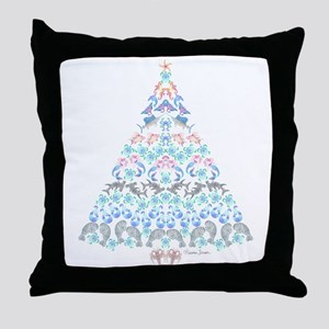 Marine Christmas Tree Throw Pillow