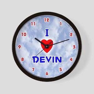 I Love Devin (Red/Bl) Valentine Wall Clock