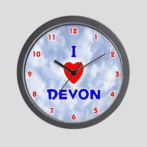 I Love Devon (Red/Bl) Valentine Wall Clock