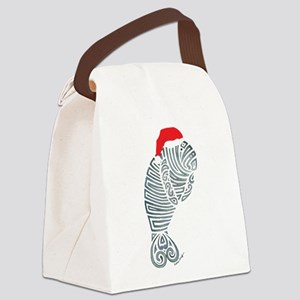 Tribal Santa Manatee Canvas Lunch Bag