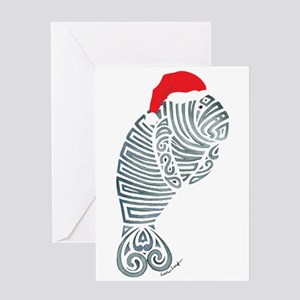 Tribal Santa Manatee Greeting Cards