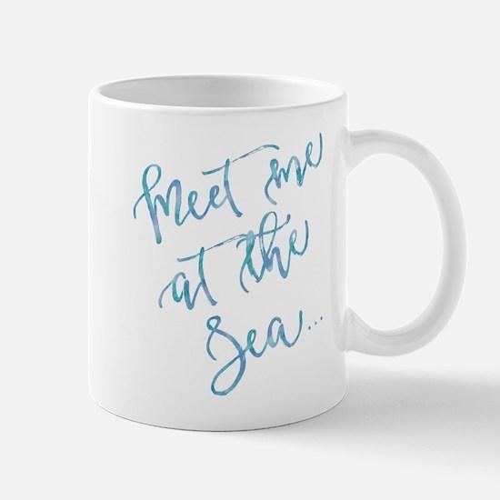 Meet Me at The Sea Watercolor Motivational Qu Mugs