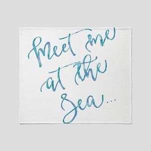 Meet Me at The Sea Watercolor Motiva Throw Blanket