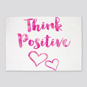 Think Positive Watercolor Inspirati 5'x7'Area Rug