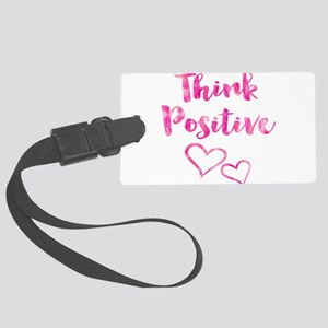 Think Positive Watercolor Inspir Large Luggage Tag