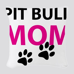 Pit Bull Mom Woven Throw Pillow