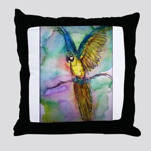 Blue/gold Macaw, parrot art! Throw Pillow