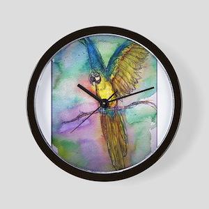 Blue/gold Macaw, parrot art! Wall Clock