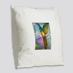 Blue/gold Macaw, parrot art! Burlap Throw Pillow