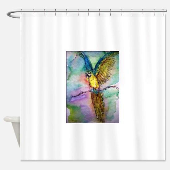 Blue/gold Macaw, parrot art! Shower Curtain