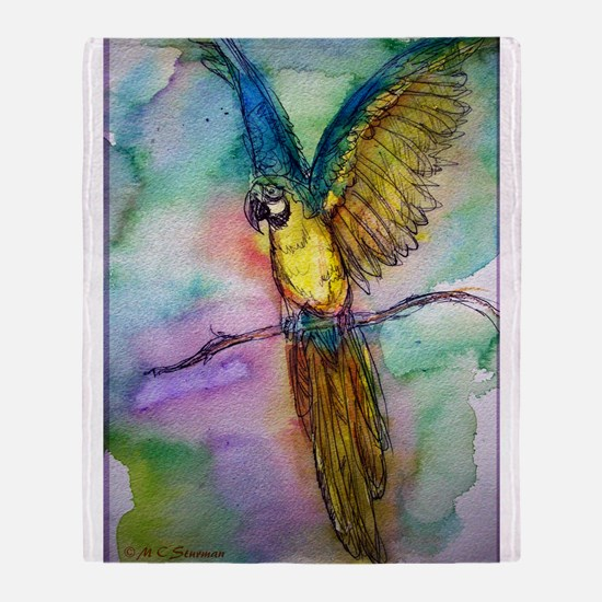 Blue/gold Macaw, parrot art! Throw Blanket