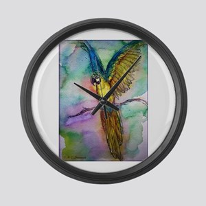 Blue/gold Macaw, parrot art! Large Wall Clock