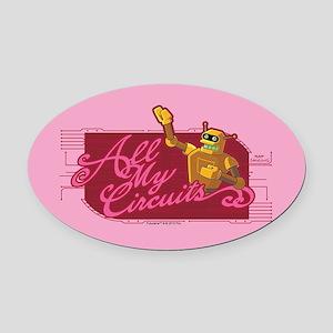 Futurama All My Circuits Oval Car Magnet