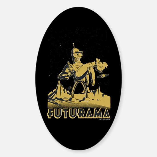 Futurama Bender and Fry Sticker (Oval)