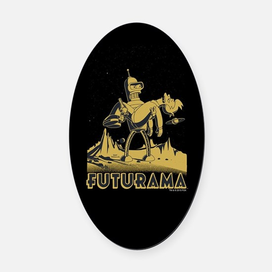 Futurama Bender and Fry Oval Car Magnet