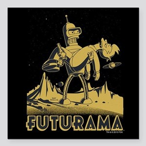 "Futurama Bender and Fry Square Car Magnet 3"" x 3"""