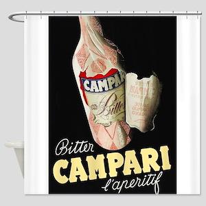 Bitter Campari Vintage Beverage Poster Shower Curt