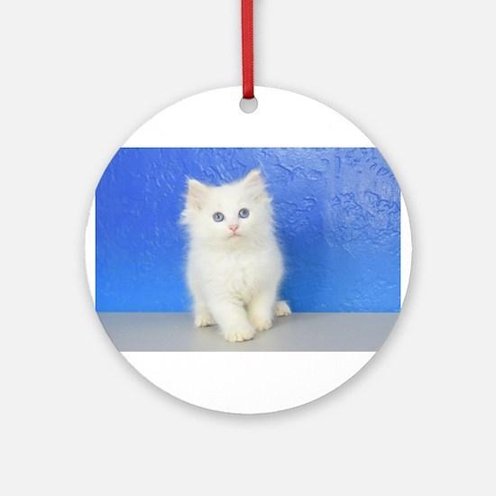 Joseph - Red Bicolor Ragdoll Kitten Round Ornament