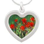Indian Paintbrush Silver Heart Necklace